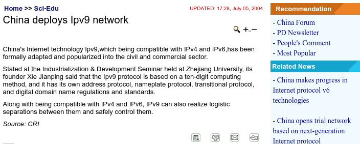 IPv9 China