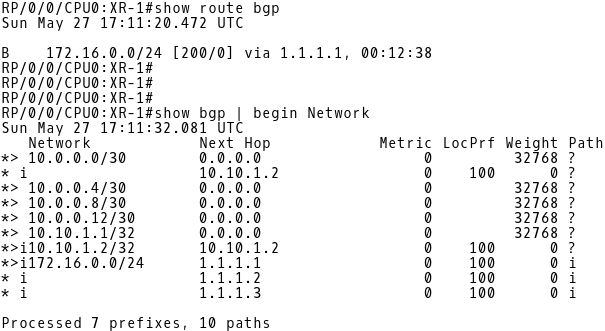 Routing Table (BGP routes only) and BGP Table of XR-1