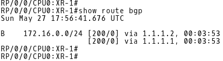 Routing Table of XR-1 (BGP routes only) after Installation of Second Best Path