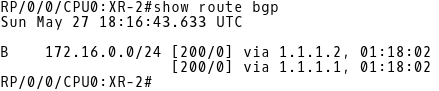 Routing Table of XR-2 (BGP routes only)