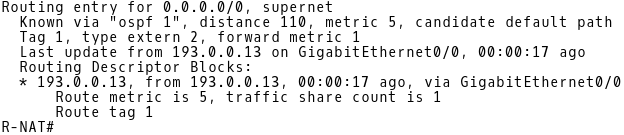OSPF E2 Route Installed in Routing Table of R-NAT when Link Between CE-1 and ISP-A is Active