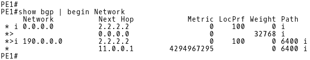 PE-1 BGP Table After Changing the Default Action for Missing MED on PE-1