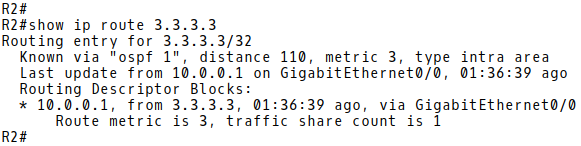 The next-hop IP Address 3.3.3.3 is Reachable Over OSPF Learned Route