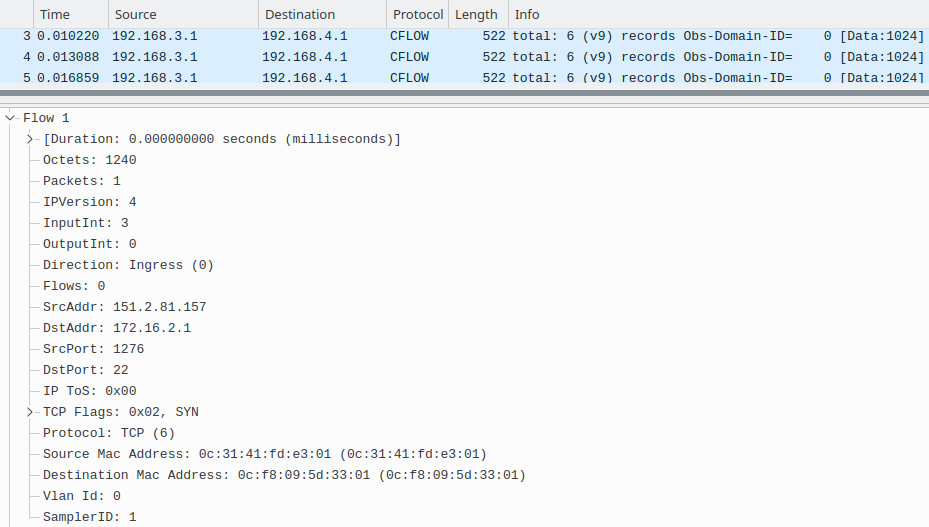 Wireshark Capture Screen on NetFlow Collector1
