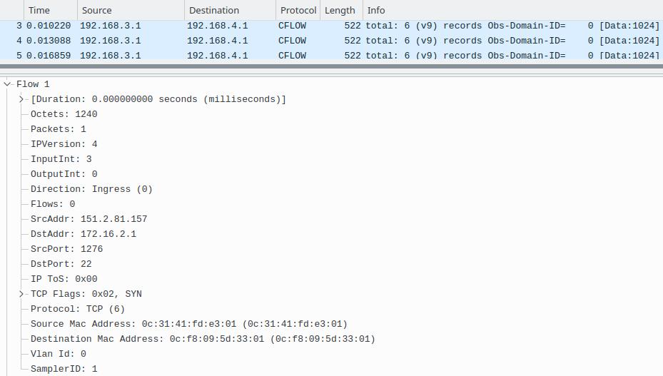 Wireshark Capture Screen on NetFlow Collector