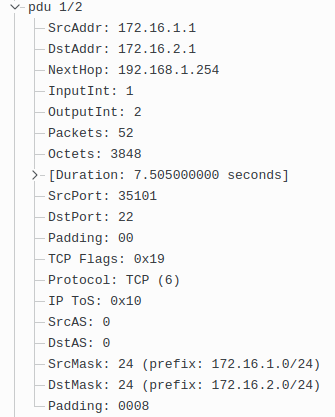 Flow Records Sent From Exporter1 Includes IP Address of the Next-Hop Router