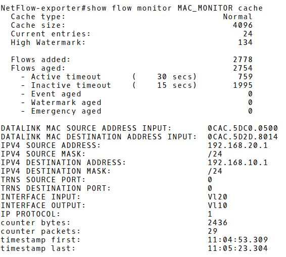 Flow Record in Exporter's Cache with ICMP Traffic