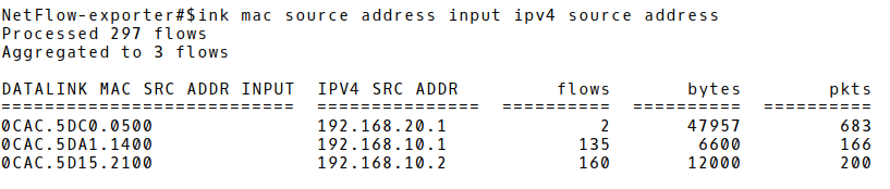 Aggregated Flow Records based on Source MAC and IP Addresses