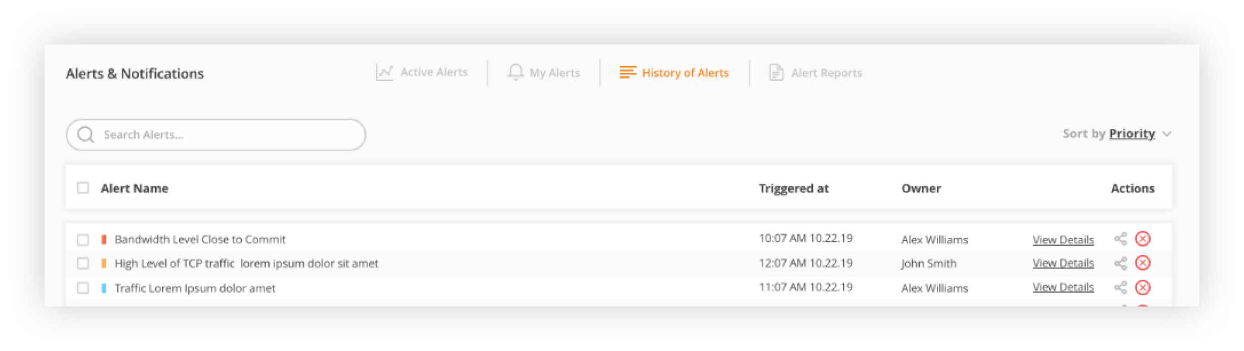 history of alerts